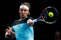 PARIS, FRANCE - NOVEMBER 04: Rafael Nadal of Spain in action against Lukas Rosol of Czech Republic during Day 3 of the BNP Paribas Masters held at AccorHotels Arena on November 4, 2015 in Paris, France. (Photo by Dean Mouhtaropoulos/Getty Images)