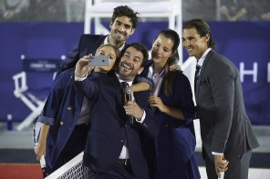 Juan Betancourt, Cristina Tosio, Arturo Valls, Malena Costa and Spanish tennis player Rafael Nadal attend Tommy Hilfiger event at the Cibeles Palace on December 1, 2015 in Madrid, Spain. (Nov. 30, 2015 - Source: Carlos Alvarez/Getty Images Europe)(Nov. 30, 2015 - Source: Carlos Alvarez/Getty Images Europe)