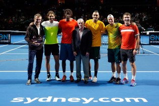 SYDNEY, AUSTRALIA - JANUARY 11: (L-R) Mats Wilander, Rafael Nadal, Gael Monfils, Ken Rosewall, Nick Kyrgios, Lleyton Hewitt and Pat Cash pose after the FAST4Tennis exhibition match between Australia Team and The World Team at Allphones Arena on January 11, 2016 in Sydney, Australia. (Photo by Zak Kaczmarek/Getty Images)