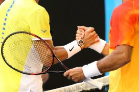 MELBOURNE, AUSTRALIA - JANUARY 19: Rafael Nadal of Spain congratulates Fernando Verdasco of Spain on winning thier first round match during day two of the 2016 Australian Open at Melbourne Park on January 19, 2016 in Melbourne, Australia. (Photo by Michael Dodge/Getty Images)
