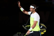 SYDNEY, AUSTRALIA - JANUARY 11: Rafael Nadal of Spain gestures to the crowd prior to the FAST4 Tennis exhibition match between Rafael Nadal and Lleyton Hewitt at Allphones Arena on January 11, 2016 in Sydney, Australia. (Photo by Brendon Thorne/Getty Images)