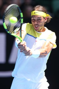 MELBOURNE, AUSTRALIA - JANUARY 19: Rafael Nadal of Spain plays a backhand in his first round match against Fernando Verdasco of Spain during day two of the 2016 Australian Open at Melbourne Park on January 19, 2016 in Melbourne, Australia. (Photo by Michael Dodge/Getty Images)