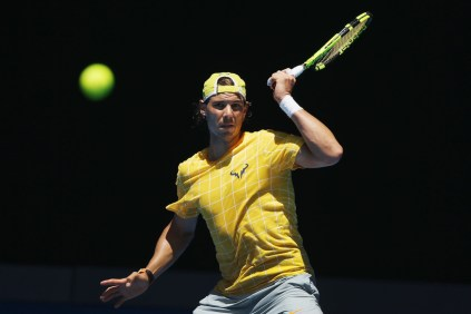 Rafael Nadal in action during a practice session ahead of the 2016 Australian Open at Melbourne Park on January 16, 2016 in Melbourne, Australia. (Michael Dodge/Getty Images)