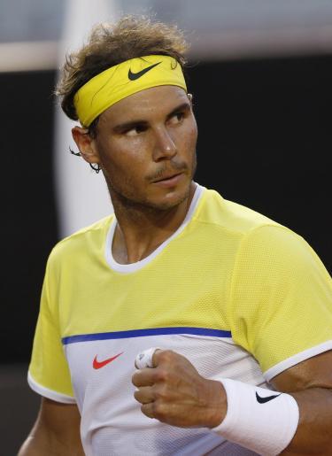 Rafael Nadal of Spain celebrates a point against Nicolas Almagro of Spain, during a Rio Open tennis match, in Rio de Janeiro, Brazil, Thursday, Feb. 18, 2016. (AP Photo/Silvia Izquierdo)