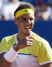 Rafael Nadal of Spain gestures during a match against Paolo Lorenzi of Italy during an ATP Argentina Open in Buenos Aires, Argentina., Friday, Feb. 12, 2016. (AP Photo/Ivan Fernandez)