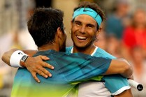 Fernando Verdasco and Rafael Nadal of Spain celebrate match point against Simone Bolelli and Andreas Seppi of Italy during the Miami Open presented by Itau at Crandon Park Tennis Center on March 24, 2016 in Key Biscayne, Florida. (March 23, 2016 - Source: Matthew Stockman/Getty Images North America)