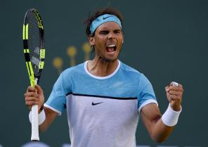 Rafael Nadal, of Spain, reacts after defeating Fernando Verdasco, of Spain, during the BNP Paribas Open tennis tournament, Tuesday, March 15, 2016, in Indian Wells, Calif. (AP Photo/Mark J. Terrill)