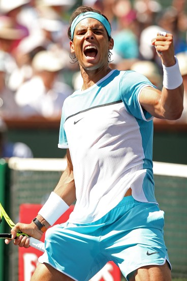 INDIAN WELLS, CA - MARCH 18: Rafael Nadal of Spain celebrates match point against Kei Nishikori of Japan during the BNP Paribas Open at the Indian Wells Tennis Garden on March 18, 2016 in Indian Wells, California. (Photo by Matthew Stockman/Getty Images)