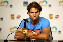 Rafael Nadal of Spain fields questions from the media after retiring from his match against Damir Dzumhur of Bosnia and Herzegovina after feeling dizzy during the Miami Open presented by Itau at Crandon Park Tennis Center on March 26, 2016 in Key Biscayne, Florida. (March 25, 2016 - Source: Matthew Stockman/Getty Images North America)