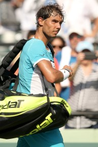 Rafael Nadal of Spain leaves the court after retiring from his match against Damir Dzumhur of Bosnia and Herzegovina during the Miami Open presented by Itau at Crandon Park Tennis Center on March 26, 2016 in Key Biscayne, Florida. (March 25, 2016 - Source: Matthew Stockman/Getty Images North America)