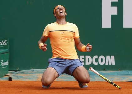 Tennis - Monte Carlo Masters - Monaco, 17/04/16. Rafael Nadal of Spain reacts after winning his final tennis match against Gael Monfils of France at the Monte Carlo Masters REUTERS/Eric Gaillard TPX IMAGES OF THE DAY