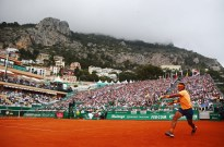 Rafael Nadal of Spain plays a forehand during the singles final match against Gael Monfils of France on day eight of the Monte Carlo Rolex Masters at Monte-Carlo Sporting Club on April 17, 2016 in Monte-Carlo, Monaco. (April 16, 2016 - Source: Michael Steele/Getty Images Europe)