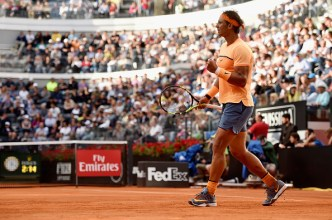 ROME, ITALY - MAY 12: Rafael Nadal of Spain celebrates a point in his match against Nick Kyrgios of Australia on Day Five of The Internazionali BNL d'Italia on May 12, 2016 in Rome, Italy. (Photo by Dennis Grombkowski/Getty Images)