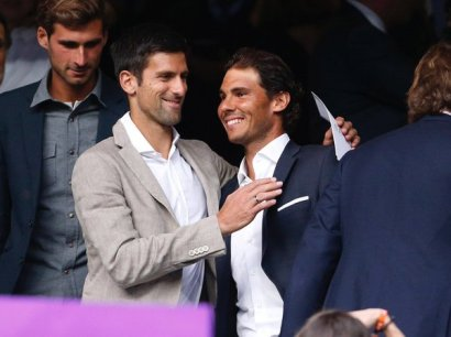 Rafael Nadal And Novak Djokovic watching the Real Madrid vs. Manchester City football match at Santiago Bernabeu