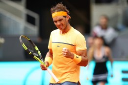 MADRID, SPAIN - MAY 06: Rafael Nadal of Spain celebrates during the Men's Singles Quarter Final match against Joao Sousa of Portugal during day seven of the Mutua Madrid Open at La Caja Magica on May 6, 2016 in Madrid, Spain. (Photo by Julian Finney/Getty Images)