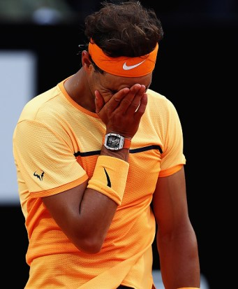 ROME, ITALY - MAY 13: Rafa Nadal of Spain looks on, after losing a point against Novak Djokovic of Serbia during day six of the The Internazionali BNL d'Italia 2016 on May 13, 2016 in Rome, Italy. (Photo by Matthew Lewis/Getty Images)