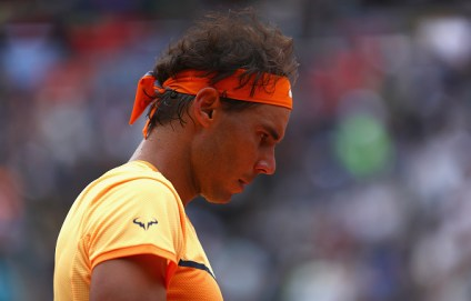ROME, ITALY - MAY 13: Rafa Nadal of Spain looks on, during his match against Novak Djokovic of Serbia during day six of the The Internazionali BNL d'Italia 2016 on May 13, 2016 in Rome, Italy. (Photo by Matthew Lewis/Getty Images)
