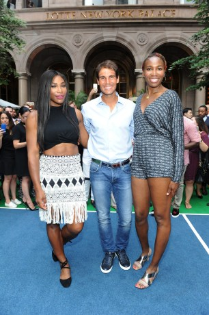 Serena Williams, Rafael Nadal and Venus Williams attend a Wii Tennis Tournament hosted by Rafael Nadal at Lotte New York Palace on August 25, 2016 in New York City. (Aug. 24, 2016 - Source: Craig Barritt/Getty Images North America)