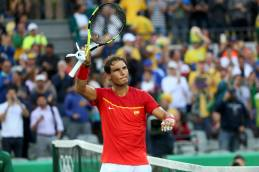 2016 Rio Olympics - Tennis - Quarterfinal - Men's Singles Quarterfinals - Olympic Tennis Centre - Rio de Janeiro, Brazil - 12/08/2016. Rafael Nadal (ESP) of Spain celebrates after winning his match against Thomaz Bellucci (BRA) of Brazil. REUTERS/Kevin Lamarque FOR EDITORIAL USE ONLY. NOT FOR SALE FOR MARKETING OR ADVERTISING CAMPAIGNS.