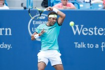 MASON, OH - AUGUST 18: Rafael Nadal of Spain hits a return to Borna Coric of Croatia during a round three match on Day 6 of the Western & Southern Open at the Lindner Family Tennis Center on August 18, 2016 in Mason, Ohio. Coric defeated Nadal 6-1, 6-3. (Photo by Joe Robbins/Getty Images)