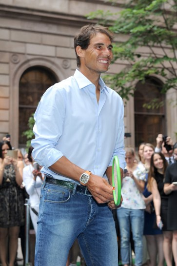 Professional tennis player, Rafael Nadal particiapates in a Wii Tennis Tournament hosted by Rafael Nadal at Lotte New York Palace on August 25, 2016 in New York City. (Aug. 24, 2016 - Source: Craig Barritt/Getty Images North America)