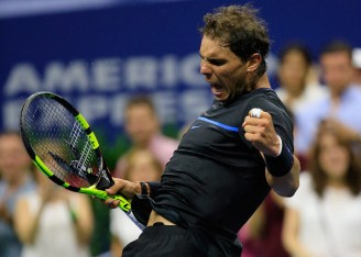 Rafael Nadal of Spain reacts to a point during his match against Andrey Kuznetsov of Russia during his third round Men's Singles match on Day Five of the 2016 US Open at the USTA Billie Jean King National Tennis Center on September 2, 2016 in the Queens borough of New York City. (Sept. 1, 2016 - Source: Chris Trotman/Getty Images North America)