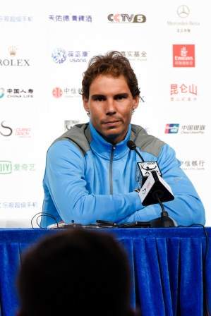 Rafael Nadal of Spain attends a press conference after winning against Paolo Lorenzi of Italy on the Men's singles first round match on day four of the 2016 China Open at the China National Tennis Centre, on October 4, 2016 in Beijing, China. (Oct. 3, 2016 - Source: Etienne Oliveau/Getty Images AsiaPac)