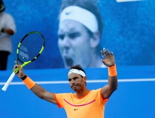Tennis - Mubadala World Tennis Championship - Rafael Nadal of Spain v David Goffin of Belgium - Abu Dhabi, UAE - 31/12/16 - Rafael Nadal of Spain celebrates. REUTERS/Ahmed Jadallah