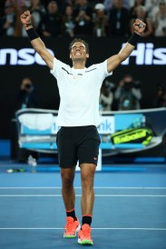 Rafael Nadal of Spain celebrates winning match point in his quarterfinal match against Milos Raonic of Canada on day 10 of the 2017 Australian Open at Melbourne Park on January 25, 2017 in Melbourne, Australia. (Jan. 24, 2017 - Source: Clive Brunskill/Getty Images AsiaPac)