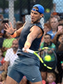 Rafael Nadal of Spain is seen during a training session on day two of the 2017 Brisbane International at Pat Rafter Arena on January 2, 2017 in Brisbane, Australia. (Jan. 1, 2017 - Source: Bradley Kanaris/Getty Images AsiaPac)