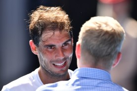 Rafael Nadal of Spain is interviewed after winning his first round match against Florian Mayer of Germany on day two of the 2017 Australian Open at Melbourne Park on January 17, 2017 in Melbourne, Australia. (Jan. 16, 2017 - Source: Quinn Rooney/Getty Images AsiaPac)