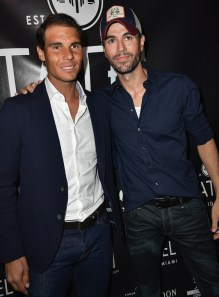 Rafael Nadal and Enrique Iglesias attend the Grand Opening Celebration of TATEL Miami at TATEL Miami on March 20, 2017 in Miami Beach, Florida. (March 19, 2017 - Source: Gustavo Caballero/Getty Images North America)