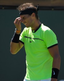 Rafael Nadal, of Spain, reacts after losing a point to Fernando Verdasco, of Spain, at the BNP Paribas Open tennis tournament, Tuesday, March 14, 2017, in Indian Wells, Calif. (AP Photo/Mark J. Terrill)