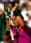 Rafael Nadal of Spain celebrates to the crowd after his straight sets victory against David Goffin of Belgium in their semi final round match on day seven of the Monte Carlo Rolex Masters at Monte-Carlo Sporting Club on April 22, 2017 in Monte-Carlo, Monaco. (April 21, 2017 - Source: Clive Brunskill/Getty Images Europe)