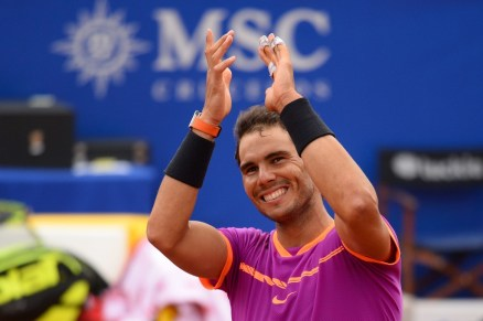 "Spanish tennis player Rafael Nadal celebrates his victory over Austrian tennis player Dominic Thiem at the end of the ATP Barcelona Open ""Conde de Godo"" tennis tournament final in Barcelona on April 30, 2017..Nadal won 6-4, 6-1. / AFP PHOTO / Josep LAGO (April 29, 2017 - Source: AFP)"