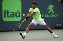 Rafael Nadal of Spain in action against Roger Federer of Switzerland in the final at Crandon Park Tennis Center on April 2, 2017 in Key Biscayne, Florida. (April 1, 2017 - Source: Julian Finney/Getty Images North America)