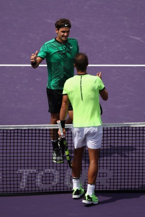 Roger Federer of Switzerland is congratulated by Rafael Nadal of Spain after the final at Crandon Park Tennis Center on April 2, 2017 in Key Biscayne, Florida. (April 1, 2017 - Source: Julian Finney/Getty Images North America)