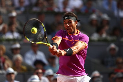Rafael Nadal of Spain in action against Dominic Thiem of Austria in the final during day nine of the Mutua Madrid Open tennis at La Caja Magica on May 14, 2017 in Madrid, Spain. (May 13, 2017 - Source: Julian Finney/Getty Images Europe)