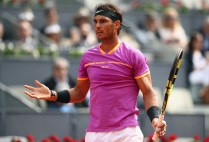 Rafael Nadal of Spain reacts after the crowd disturbs the rally in his match against Fabio Fognini of Italy during day five of the Mutua Madrid Open tennis at La Caja Magica on May 10, 2017 in Madrid, Spain. (May 9, 2017 - Source: Julian Finney/Getty Images Europe)