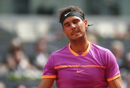Rafael Nadal of Spain reacts in his match against Fabio Fognini of Italy during day five of the Mutua Madrid Open tennis at La Caja Magica on May 10, 2017 in Madrid, Spain. (May 9, 2017 - Source: Julian Finney/Getty Images Europe)