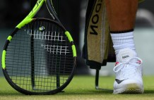 A picture shows a shoe of Spain's Rafael Nadal as he sits in the break between games against Luxembourg's Gilles Muller during their men's singles fourth round match on the seventh day of the 2017 Wimbledon Championships at The All England Lawn Tennis Club in Wimbledon, southwest London, on July 10, 2017. / AFP PHOTO / Glyn KIRK / RESTRICTED TO EDITORIAL USE (July 9, 2017 - Source: AFP)