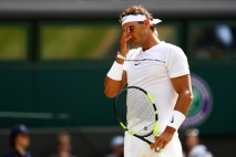LONDON, ENGLAND - JULY 07: Rafael Nadal of Spain reacts during the Gentlemen's Singles third round match between Karen Khachanov of Russia on day five of the Wimbledon Lawn Tennis Championships at the All England Lawn Tennis and Croquet Club on July 7, 2017 in London, England. (Photo by Michael Steele/Getty Images)