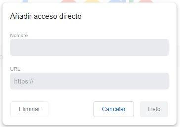 detalle de añadir acceso directo