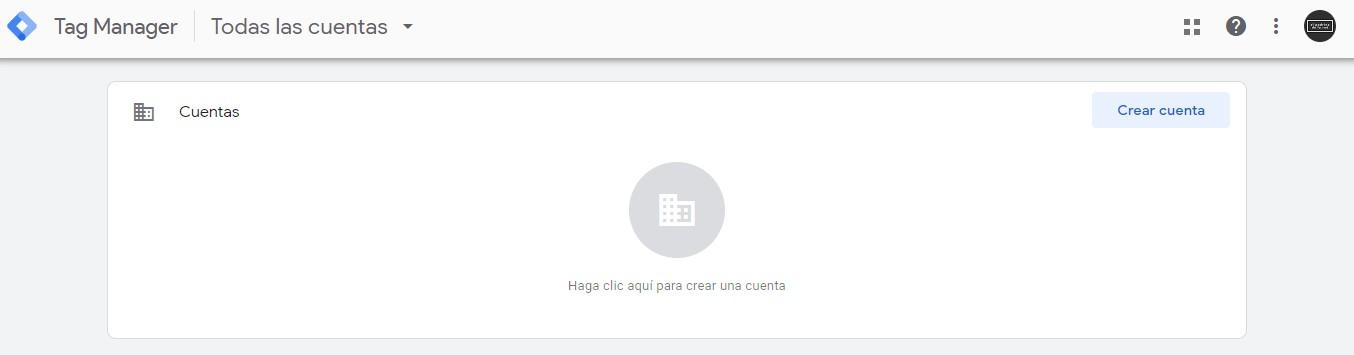 Pantalla de inicio de Google Tag Manager