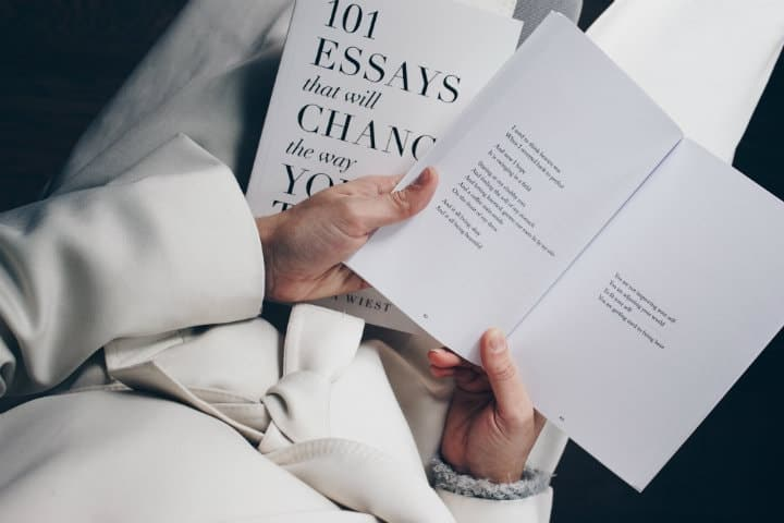 Example Of A Good Thesis Statement For An Essay A Woman Dressed In White Holding A Book With Essays And Poems What Is A Thesis Statement In An Essay also What Is Thesis Statement In Essay  Best Books On Essay Writing  Rafal Reyzer Thesis Statement In Essay
