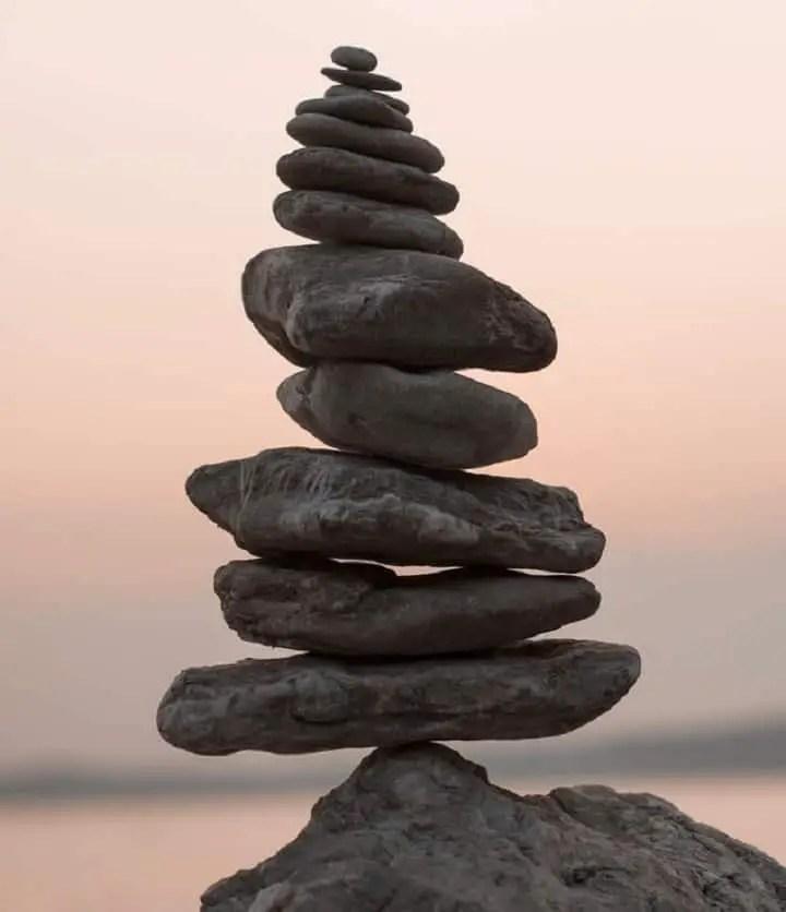 a large stack of strange stones