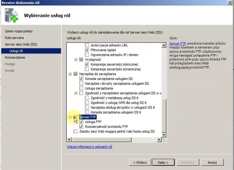 kreator dodawania roli serwera sieci Web(IIS)