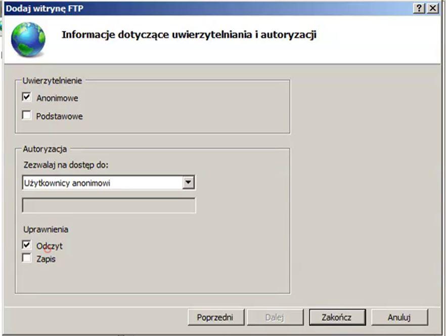 ustawienia FTP