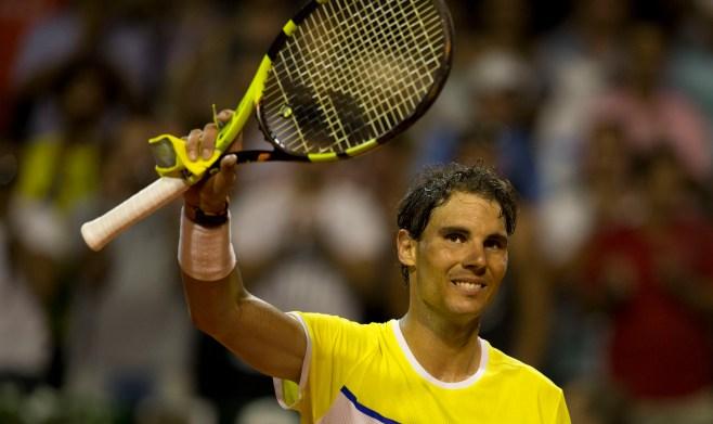 Rafael Nadal of Spain celebrates winning his match against Juan Monaco of Argentina at the ATP Argentina Open in Buenos Aires, Argentina, Thursday, Feb. 11, 2016. (AP Photo/Natacha Pisarenko)