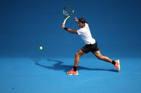 MELBOURNE, AUSTRALIA - JANUARY 17: Rafael Nadal of Spain plays a backhand in his first round match against Florian Mayer of Germany on day two of the 2017 Australian Open at Melbourne Park on January 17, 2017 in Melbourne, Australia. (Photo by Mark Kolbe/Getty Images)